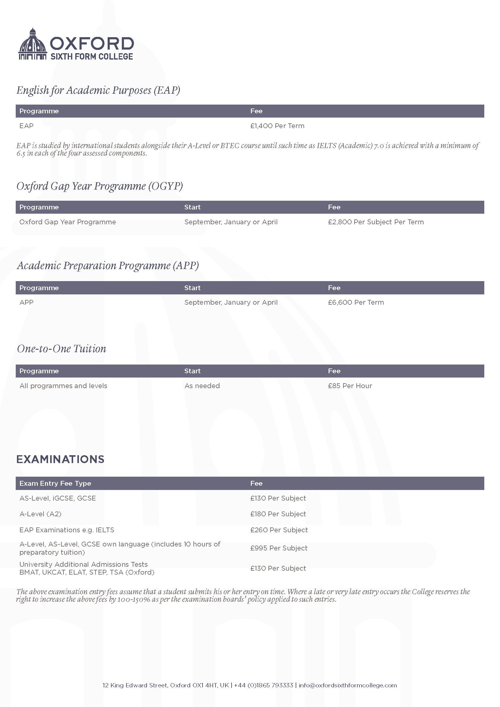 Oxford Sixth Form College 2019-2020 Fees
